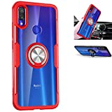 Xiaomi Redmi Note 7 Case,360° Rotating Ring Kickstand Protective Case,TPU PC Shock Absorption Double Protection Cover Compatible with [Magnetic Car Mount] for Xiaomi Redmi Note 7 Case (Red/Silver)