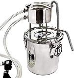 INTER FAST Inicio Destilador Todavía Alcohol Ilegal Inoxidable Caldera Vino del termómetro Spirits Esencial de Aceite en Agua de cervecería del Kit Kits de Agua de destilación (con Bomba) (10L)