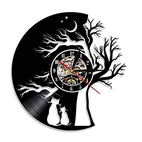 RFTGH Lindo Gato Enamorarse decoración Obra de Arte Reloj de Pared Gatito Animal doméstico Disco de Vinilo Reloj Reloj de Pared Negro decoración de la habitación
