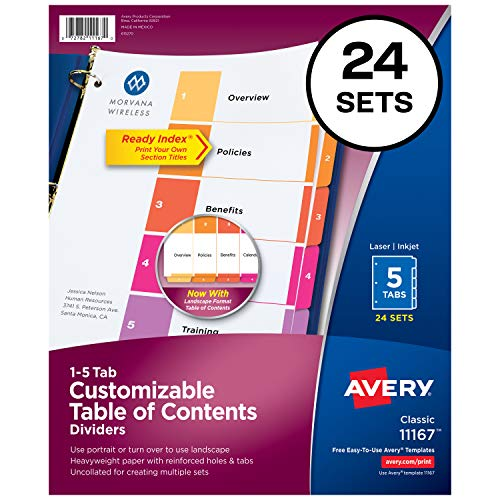Avery 5-Tab Dividers for 3 Ring Binders, Customizable Table of Contents, Multicolor Tabs, 24 Sets (11167)