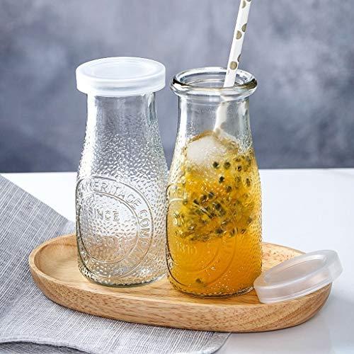 dxzsf Recipientes de Almacenamiento de Alimentos con Tap Botella Creativa Pudín de cápsulas de gelatina Mousse Copa de Vidrio con Tapa de Botella de Yogur Jugo Botella Taza de Leche 2 Paquete