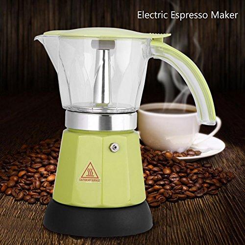 Asixx Elektrischer Espressokocher, Moka Espressokanne aus Aluminiumlegierung für 6 Tassenmit Transparenten Behälter, Rot/Grün 300 ml(Grün)