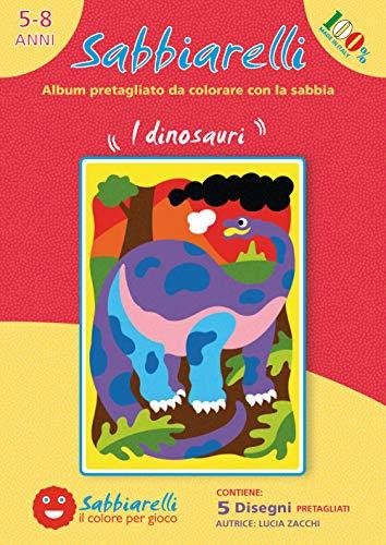 Sabbiarelli Sand-it for Fun - Album Die Dinosaurier: 5 vorgeklebte Zeichnungen, zum bemalen mit Sand (Sand Nicht enthalten), Geeignet für Kinder Jahre 5+