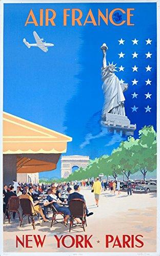 Air France - New York - Paris Vintage Poster (artiste: Guerra) France vers 1951 16 x 24 Giclee Print Multicolore