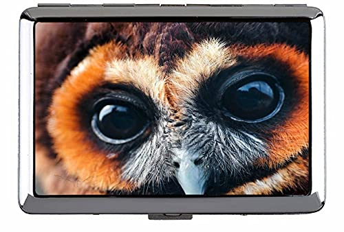 Caja de cigarrillos Rey de doble cara, Owl Face Eyes Pájaro Caja fuerte y soporte (tamaño king) C166
