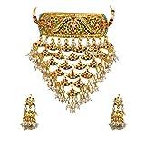 55Carat Juego de collar y pendientes chapados en oro con perlas de rubí, esmeralda, hecho a mano, étnico tradicional, colección Jadau, juego de joyería para mujeres y niñas