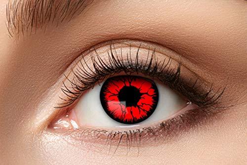 Zoelibat Farbige Kontaktlinsen für 12 Monate, Metatron, 2 Stück, BC 8.6 mm / DIA 14.5 mm, Jahreslinsen in Markenqualität für Halloween, Fasching, Karneval, rot