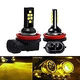 SOCAL-LED LIGHTING 2x H11 H8 Bombilla de luz antiniebla LED Advanced 3030 SMD Lámpara DRL de circulación diurna colorida brillante, amarillo dorado