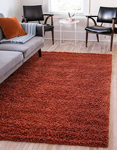 Unique Loom Solo Solid Shag Collection Modern Plush Terracotta Area Rug (5' 0 x 8' 0)