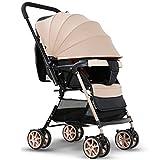 Carritos y sillas de Paseo Cochecito de bebé Cochecito Plegable Cochecito de Viaje Infantil liviano, 4 carros Redondos para niños de 0 a 5 Meses Bebé Sillas de Paseo (Color : Brown)