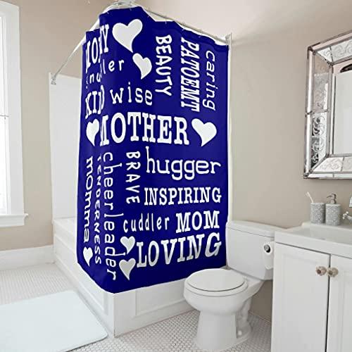 Gamoii Liebend Nett Mama - Tenda da doccia con parole ispiratorie, per bagno, tenda da bagno, impermeabile, con gancio per tenda, bianco 2, 91 x 180 cm