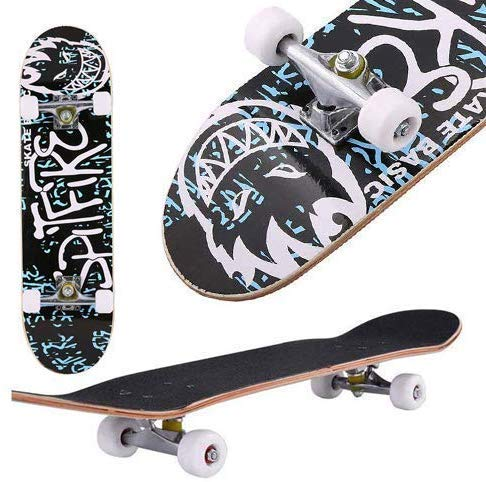 fiugsed Skateboard Komplettboard Mit ABEC-9 Kugellager Und 9-Lagigem Ahornholz 95A Rollenhärte Funboard FÜR Anfänger Und Profis - Belastung 100 KG (Alphabet)