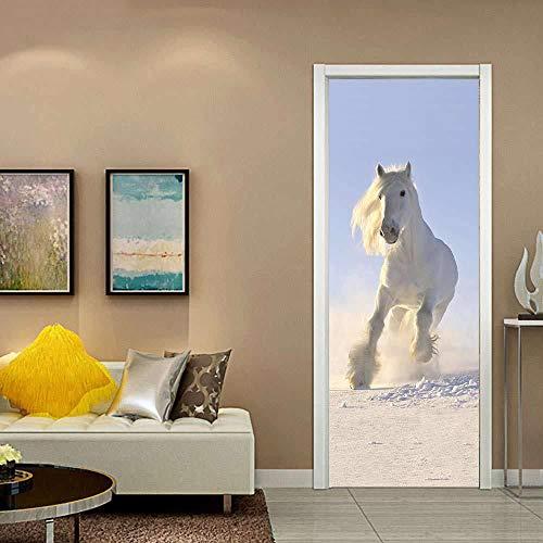BXZGDJY deurbehang wit paard 77X200cm oude boeken bibliotheek rek boekwerk antiek kaarsen rustiek behang fotobehang inclusief deurbehang zelfklevend deurposter - fotobehang deurfolie poster behang