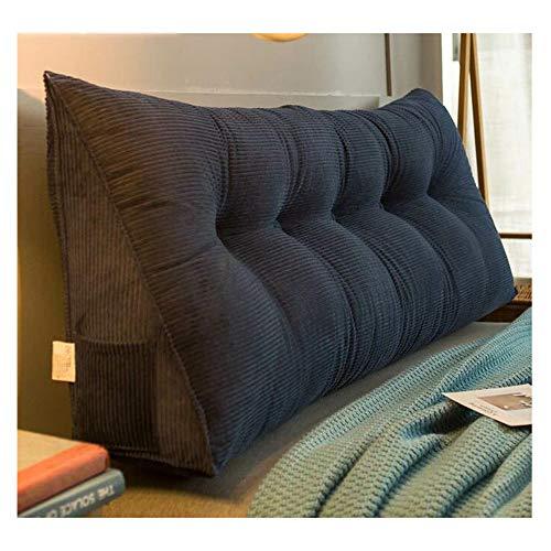 SCAHUN Bed Double Backrest Cushions Soft Package Sofa Large Backrest Corduroy Ergonomic Triangle Waist Pillow,Blue-135×20×50cm