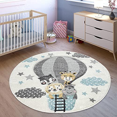 TT Home Alfombra infantil con diseño de animales de la jungla, 120 x 170 cm, color crema