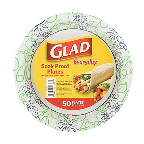 Glad 8 1/2-Inch Round Soak Proof Cut Resistant Microwavable Disposable Everyday Use-White Blue & Green Design, Heavy Duty Paper Plates, 50 Count, Whimsical Floral Design