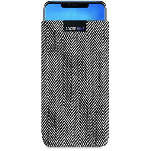 Adore June Business Tasche für Huawei Mate 20 Pro Handytasche aus charakteristischem Fischgrat Stoff - Grau/Schwarz | Schutztasche Zubehör mit Bildschirm Reinigungs-Effekt | Made in Europe