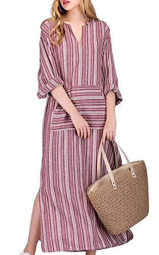 MAGIMODAC Damen Maxikleid Sommerkleid Kleider Boho Party Kleid Leinenkleid Strandkleid Lang Grau Gr.36-50 (Pink, Etikett 2XL (EU 44))