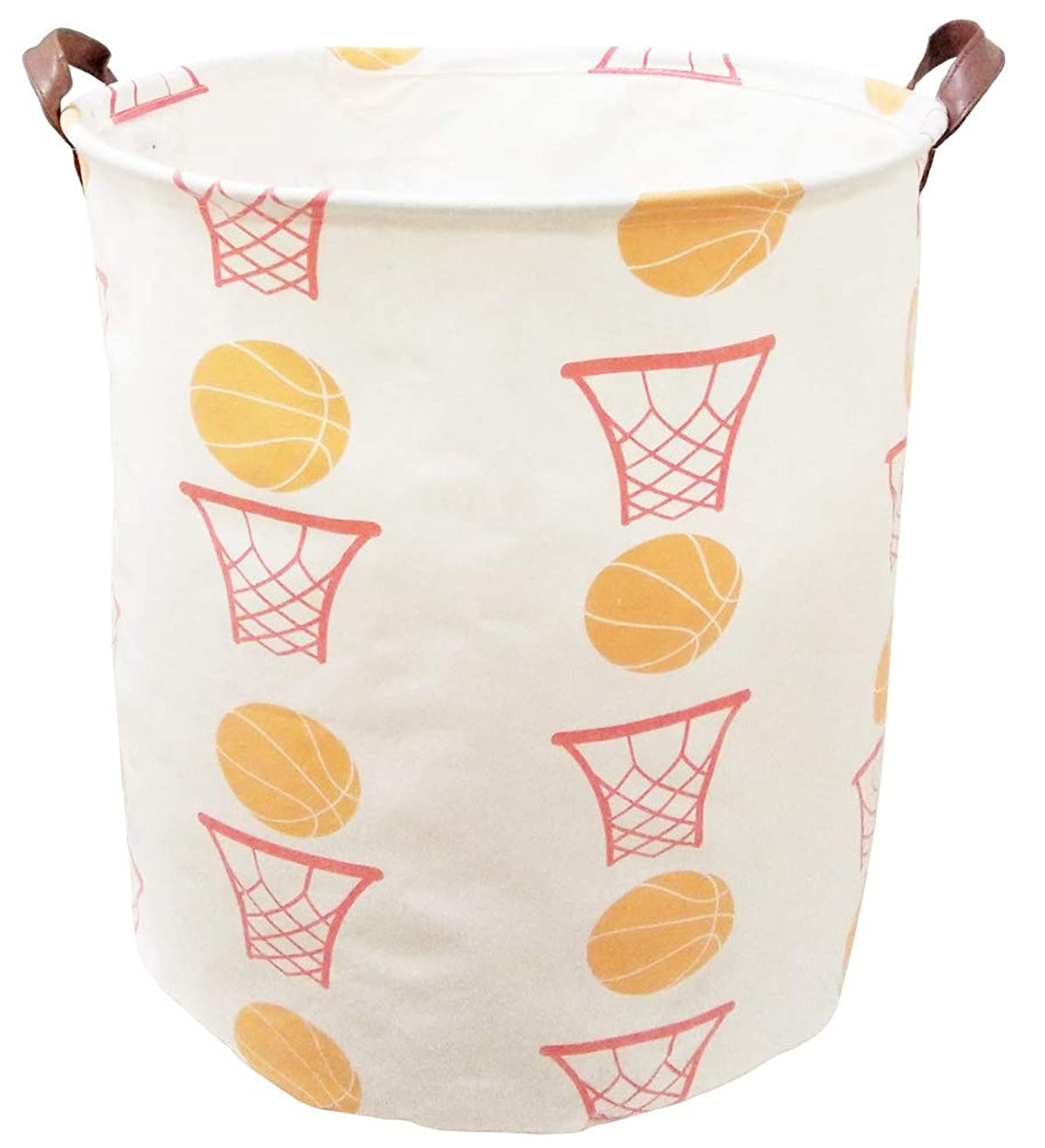 BOOHIT Cotton Fabric Storage Bin,Collapsible Laundry Basket-Waterproof Large Storage Baskets,Toy Organizer,Home Decor (Basketball)