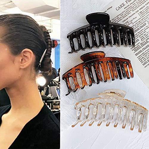 3 Stück Große Haarklammer, Kunststoff Klaue Clips Rutschfest Haarspangen, Dicke Haare Klaue Für Frauen, Große Haarspangen Haar-Accessoires für Frauen Damen Mädchen