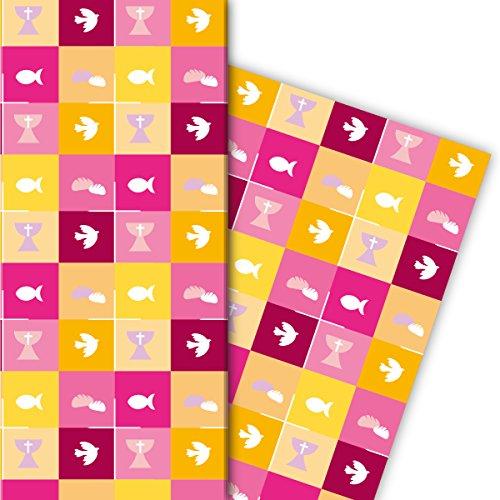 Kartenkaufrausch Schönes Geschenkpapier Set mit christlichen Symbolen für tolle Geschenk Verpackung, Designpapier, scrapbooking, 4 Bögen, 32 x 48cm Dekorpapier, Musterpapier zum Einpacken