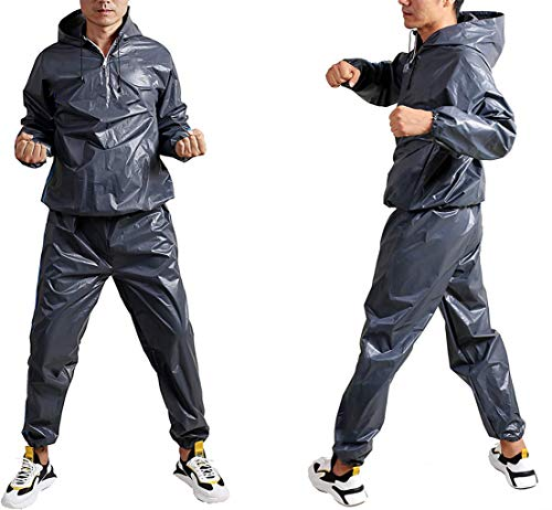 GOLD XIONG PADISHAH 2020 Upgrade New EVA Heavy Duty Sweat Sauna Suit | Anti-Rip Full Body Sweat Suits Exercise Gym Suits Fitness | Weight Loss Sauna Suit for Women Men (Size 2XL,Blue)