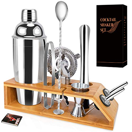 Cocktail Shaker Set with Stand-10 Pieces Stainless Steel Bartender Kit with Bamboo Base Includes Martini Shaker (25oz),Jigger,Strainer,Spoon and More for Wonderful Drink Mixing Experience