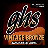 GHS Strings VN-B VINTAGE BRONZE Acoustic Guitar Strings, 6 Set, Bluegrass Gauging (012-056)