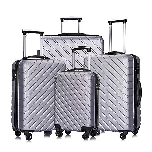 4 Pcs Luggage Set Trolley Spinner Suitcase Hardshell Travel Bag 18' 20' 24' 28' (Silver)