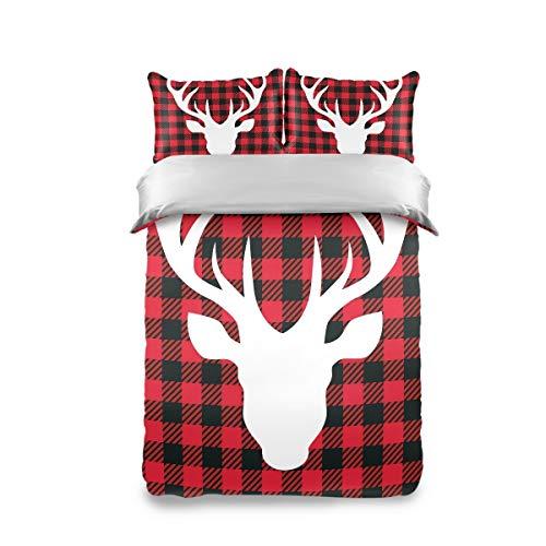 HappyCAT Bedding Set 3 Piece Merry Christmas Elk Milu Deer Black Red Lattice Kids Duvet Cover Set Twin(1 Duvet Cover + 2 Pillow Shams) Comforter Cover for Boys Girls 66x90in 5020662