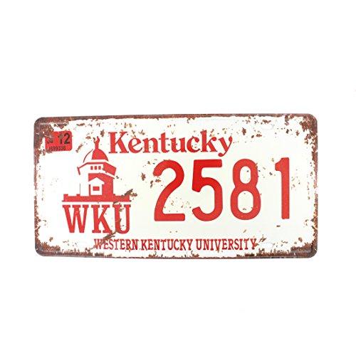 6x12 Inches Vintage Feel Metal Tin Sign Plaque for Home,Bathroom and Bar Wall Decor Car Vehicle License Plate Souvenir (Kentucky WKU 2581)