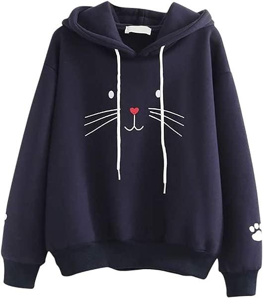 Redacel Women Cat Print Hooded Pullover Tops Teen Girls Hoodie Sweatshirt Jumper Long Sleeve Outerwear Coat