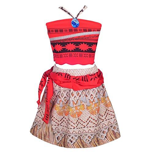 Lito Angels Niñas Princess Moana Vaiana Disfraz Aventuras 2 Piezas Top y Falda Conjunto Halloween Vestido de Fiesta Talla 12-24 Meses