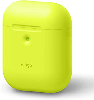 elago AirPods 2 Premium Silicone Case (2019 Latest Model) Extra Protective Cover, Front LED Visible, Supports Wireless Charging, Shock Resistant - Compatible with Apple AirPods 2 Wireless Charging Case (Neon Yellow)