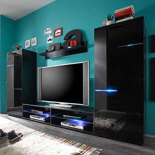 Möbel Akut Wohnwand Media Light schwarz mit Glasfronten inkl. RGB Beleuchtung