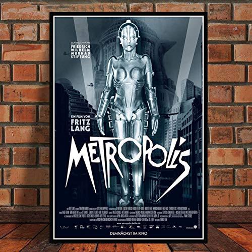 ZHINING Metropolis Deutscher Retro-Film Fritz Lang Retro Leinwand Poster und Drucke Ölgemälde Wandbilder HD-Drucke Wohnzimmer Wohnkultur Bilder