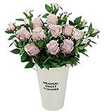 Olrla 6 rosas artificiales vintage, tallo largo, rosa de seda sintética, ramos de boda, decoración...