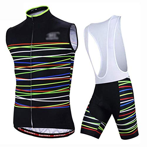 Men's Cycling Suits Sleeveless Jersey + 3D Gel Bike Shirt Summer Outdoor Youth Bicycle Clothing,Black,S