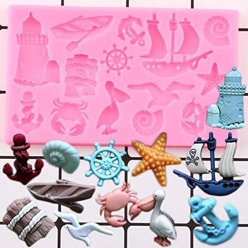 Lucsiky Ocean Series Anchor Silikonformen Segelboot Seetiere Cupcake Topper Fondant Kuchen Dekorationswerkzeuge Candy Clay Schokoladenformen