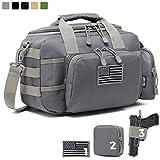 DBTAC Gun Range Bag Small | Tactical 2X Pistol Shooting Range Duffle Bag with Lockable Zipper for Handguns and Ammo (Gray)