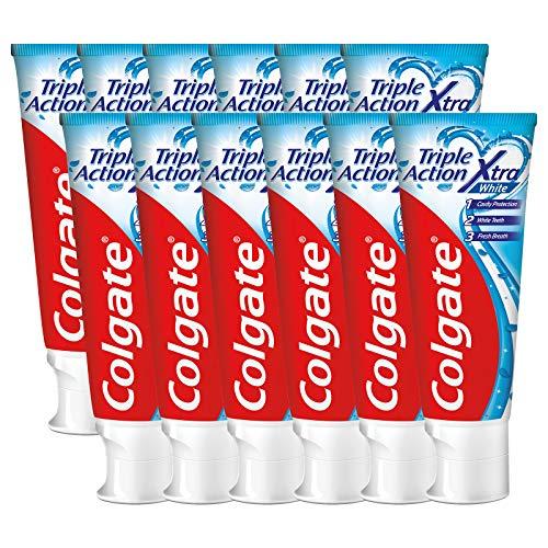 Colgate Triple Action Whitening Tandpasta – 12 x 75ml – Voordeelverpakking