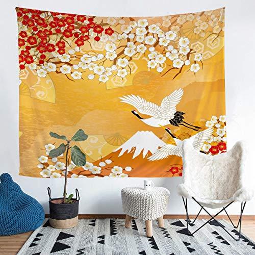 Loussiesd Tapiz floral para colgar en la pared, diseño de flor de cerezo para niños, adolescentes, de lujo, Fuji, montaña, impreso, manta de pared ultra suave, manta de cama grande, 128 x 179