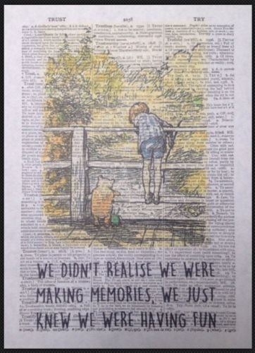 Parksmoonprints - Stampa artistica da parete con citazione di Winnie The Pooh Memories