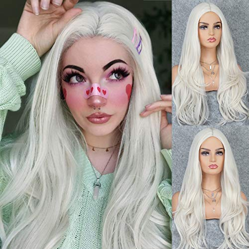 K'ryssma Platinum Blonde Wig Natural Wavy Long Wig with Middle Part 22 Inches Synthetic Blonde Wigs for Women
