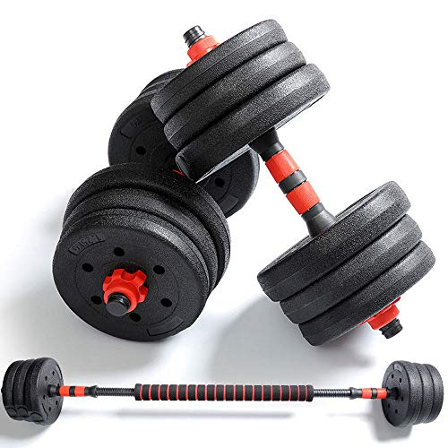 Professional Adjustable Weights Dumbbells Set, Free Weights Dumbbells with Connecting Rod Used As Barbell, Strength Building, Weight Loss, Suitable for Home and Training Studio,33 lbs