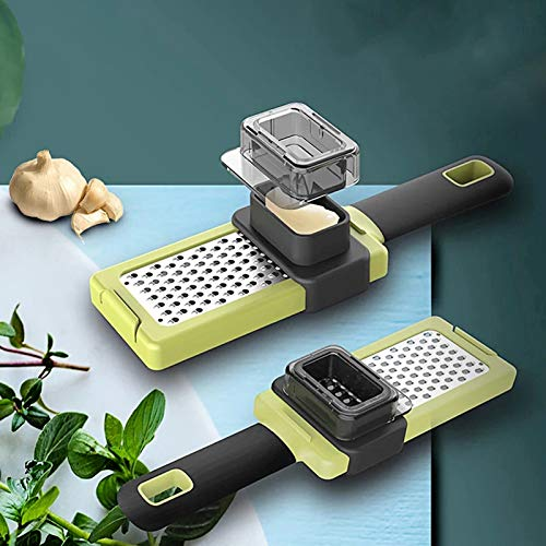 GUANGE 2-Pack Multi Functional Garlic Crusher, Ginger Grinding Grater Cutting Easy to Squeeze, Kitchen Vegetable Chopper Planer, Garlic Press Kitchen Accessories