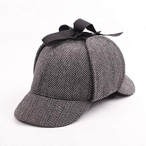 MHGLOVES Funny Party Hoeden Sherlock Holmes Hoed Detective Hoed Deerstalker Hoed Herringbone Tweed Sherlock Holmes Cap Feestkleding Accessoire(56-58CM)