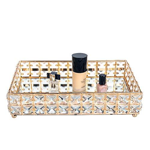 Feyarl - Bandeja rectangular de cristal con espejo para cosméticos, perfumes, bandeja organizadora de joyas, bandeja plateada decorativa para boda, decoración del hogar (oro)