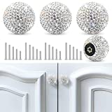 Soleebee 4 Pcs Bling Drawer Knobs ,Decoration Dresser Cupboard Knobs ,Bling Crystal Rhinestone Cabinet knobs ,Round Pull Handle with Screws for Home Kitchen Bathroom Office (White)