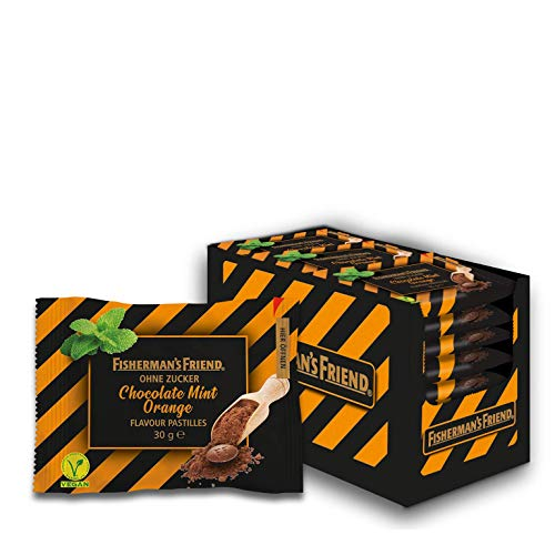 Fisherman's Friend Chocolate Mint Orange: fruchtige Schoko-Minz Pastillen, 20 Zip-Lock Beutel à 30g, zuckerfrei